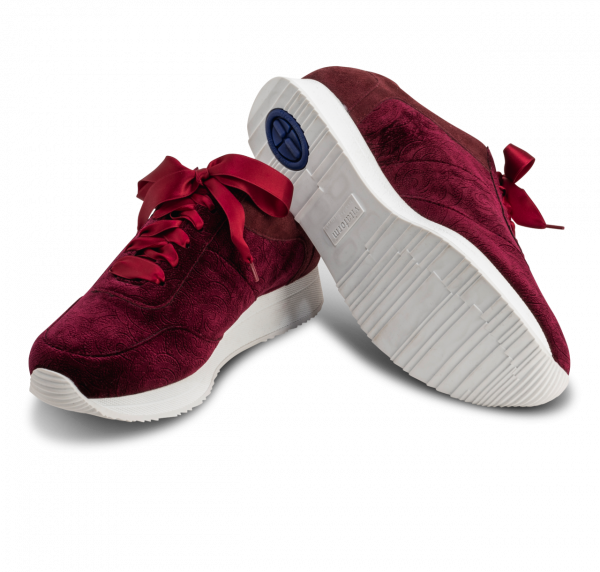 samtiger Sneaker vitaform Samtstretch, bordeaux, frontal